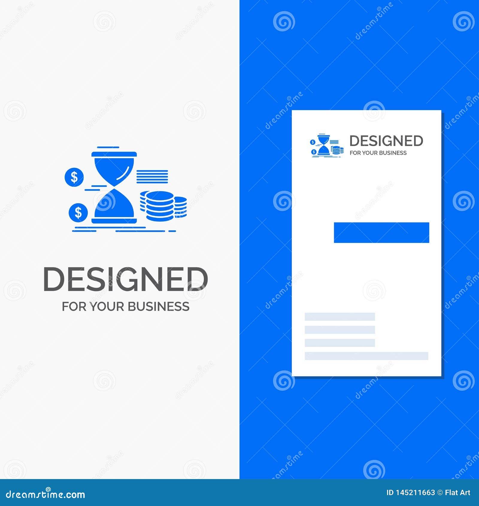 Bedrijfsembleem voor Zandloper, beheer, geld, tijd, muntstukken Verticaal Blauw Bedrijfs/Visitekaartjemalplaatje