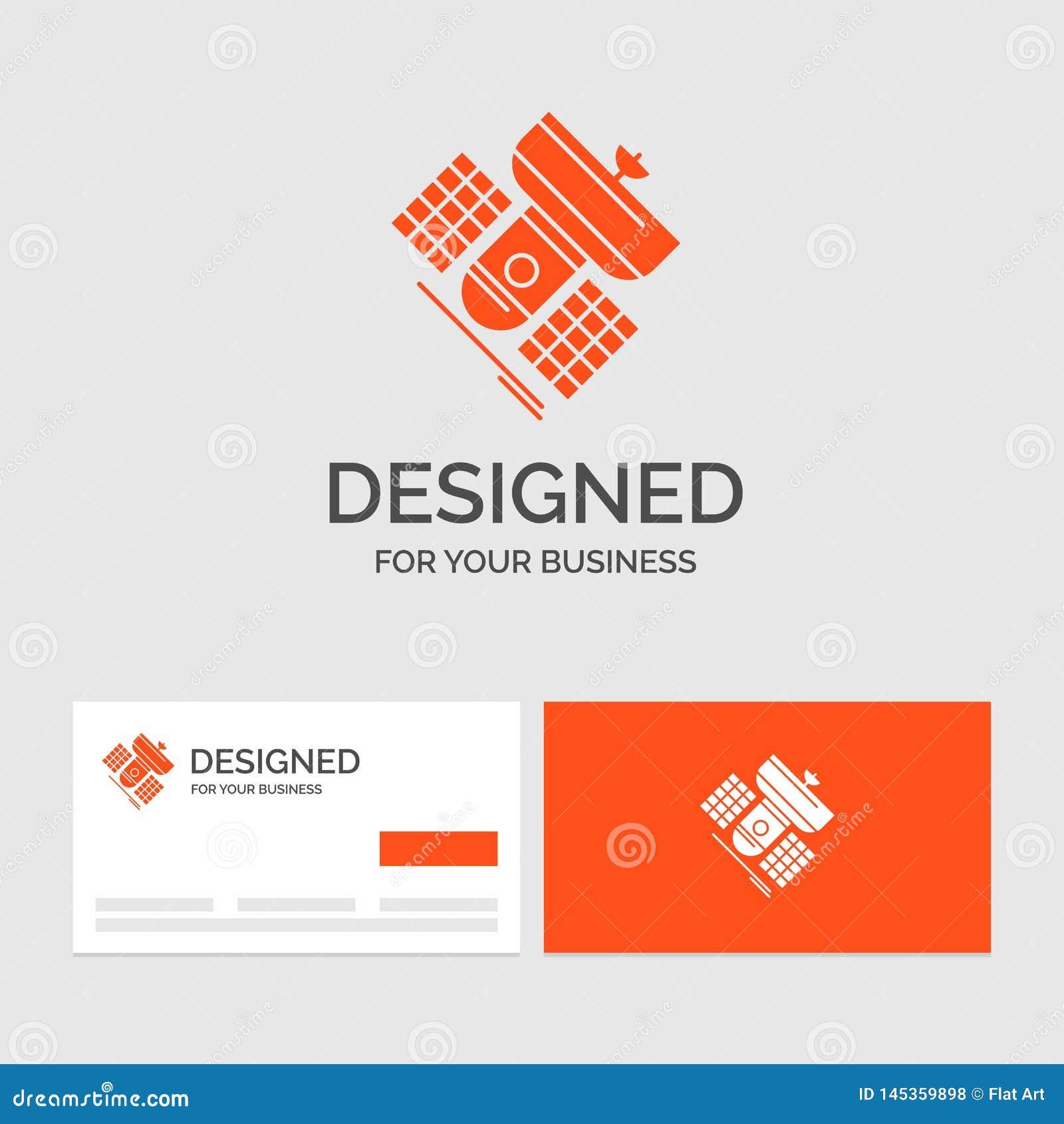 Bedrijfsembleemmalplaatje voor Uitzending, het uitzenden, mededeling, satelliet, telecommunicatie Oranje Visitekaartjes met Merk
