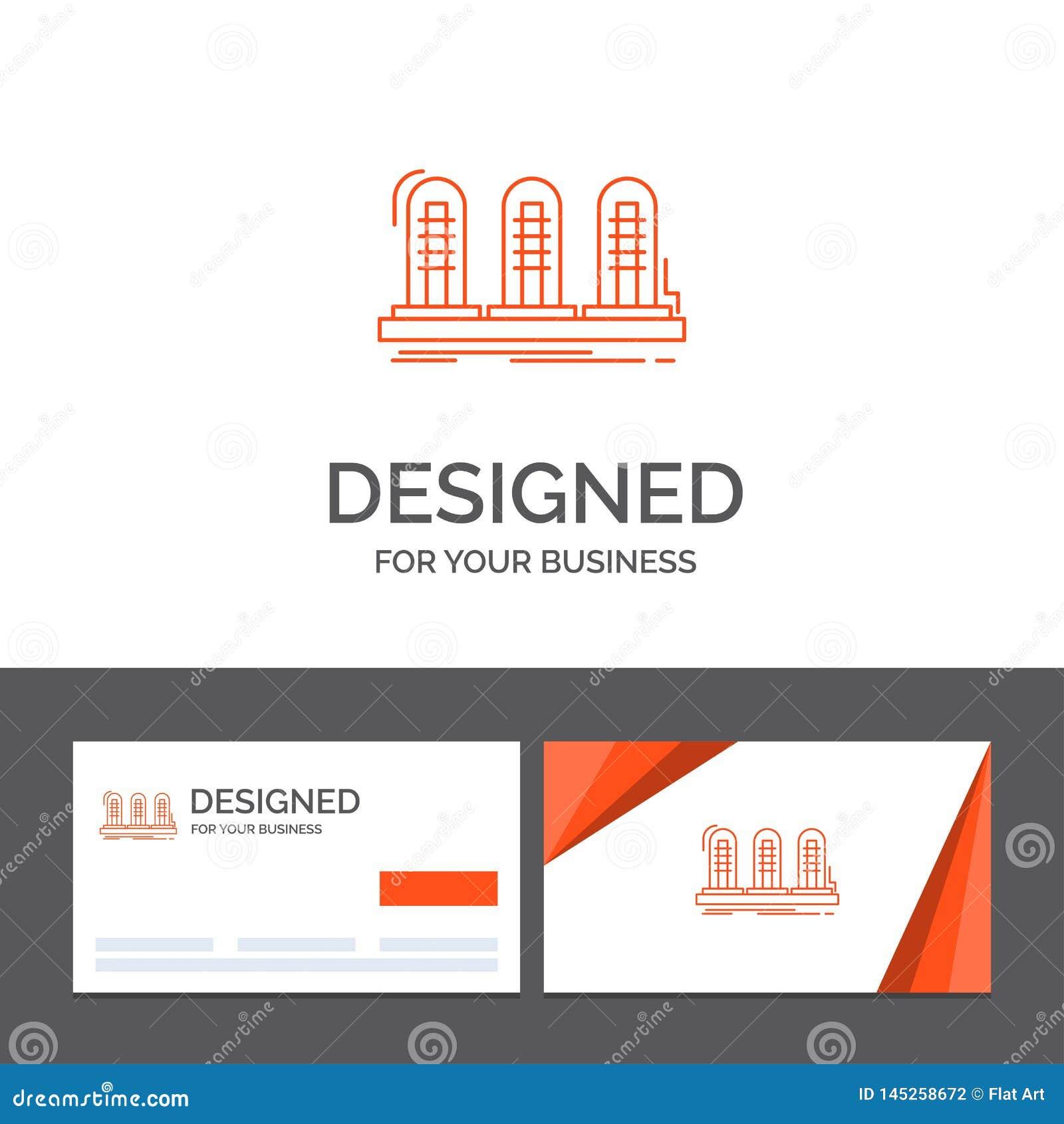 Bedrijfsembleemmalplaatje voor versterker, analogon, lamp, geluid, buis Oranje Visitekaartjes met het malplaatje van het Merkembl