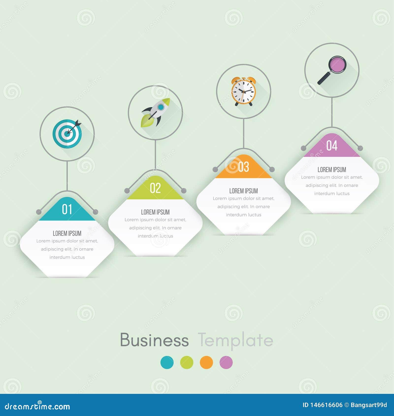 Bedrijfsgegevensvisualisatie Procesgrafiek Abstracte elementen van grafiek, diagram met stappen, opties, delen of processen Vecto