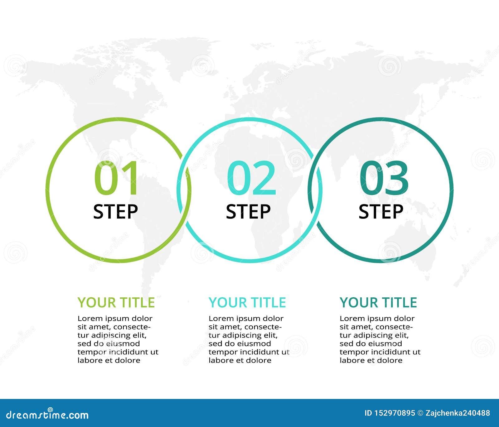 Bedrijfsgegevensvisualisatie Procesgrafiek Elementen van grafiek, diagram met 3 stappen, opties, delen of processen
