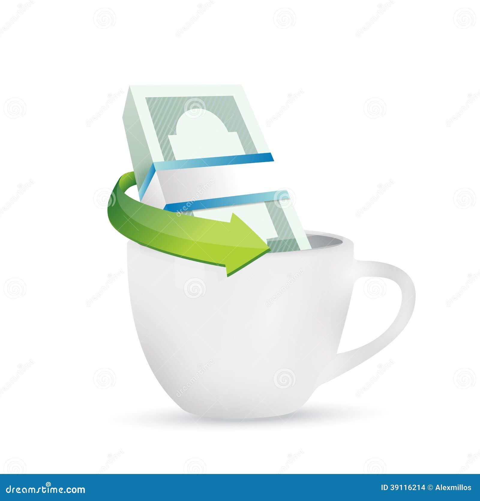 Bedrijfsgeld en koffiemok. illustratie