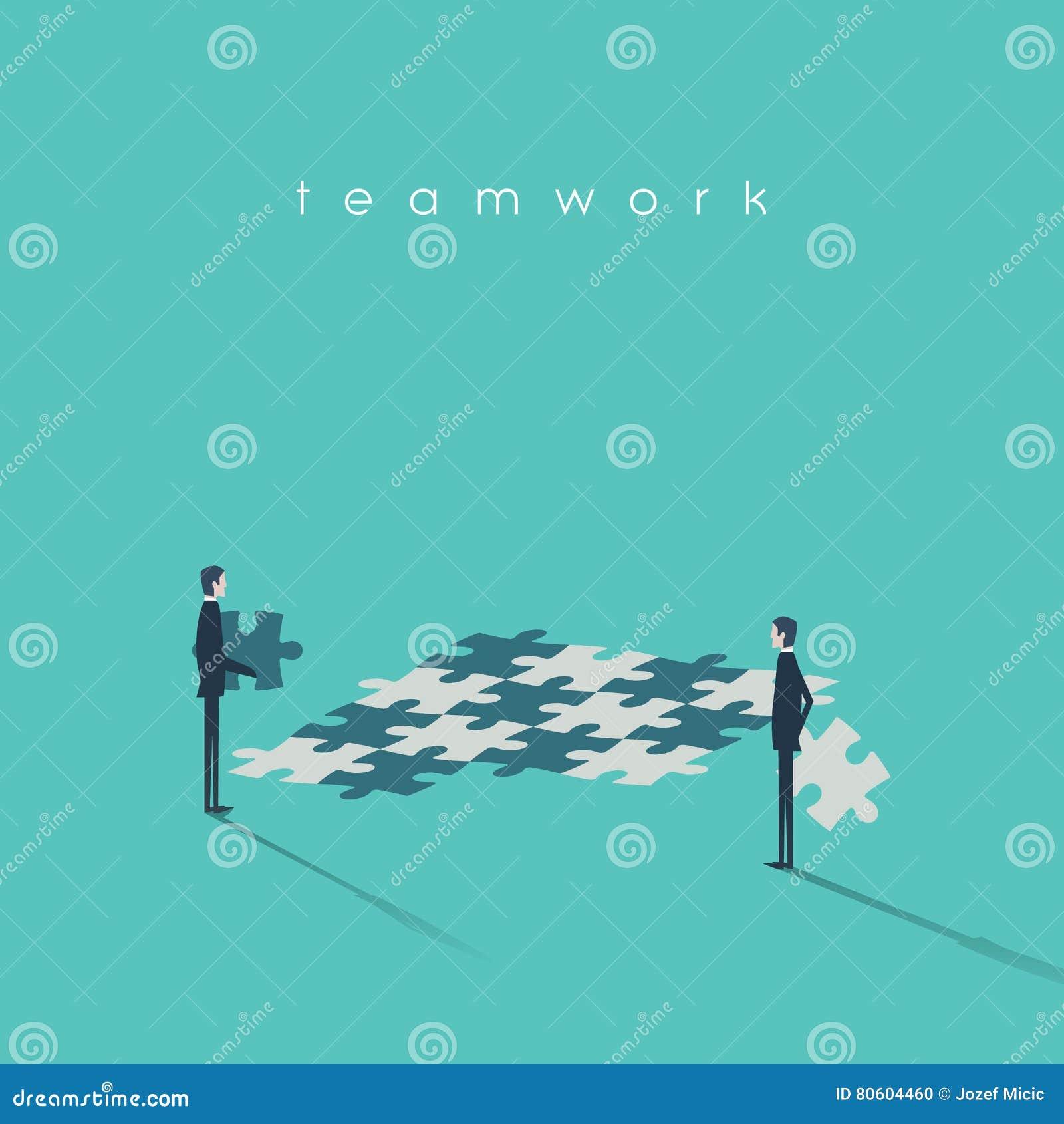 Bedrijfsgroepswerkconcept met zakenlieden en puzzel als symbool van samenwerking