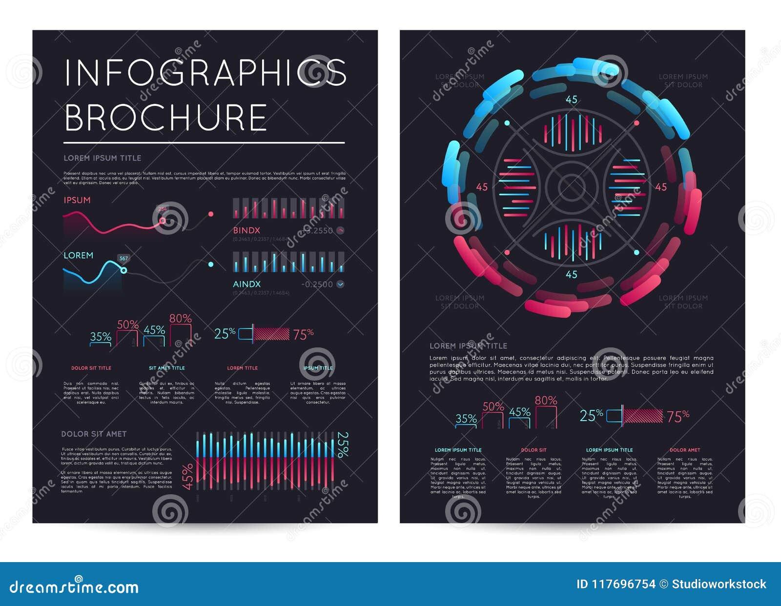 Bedrijfsinfographicsbrochure met diverse grafieken