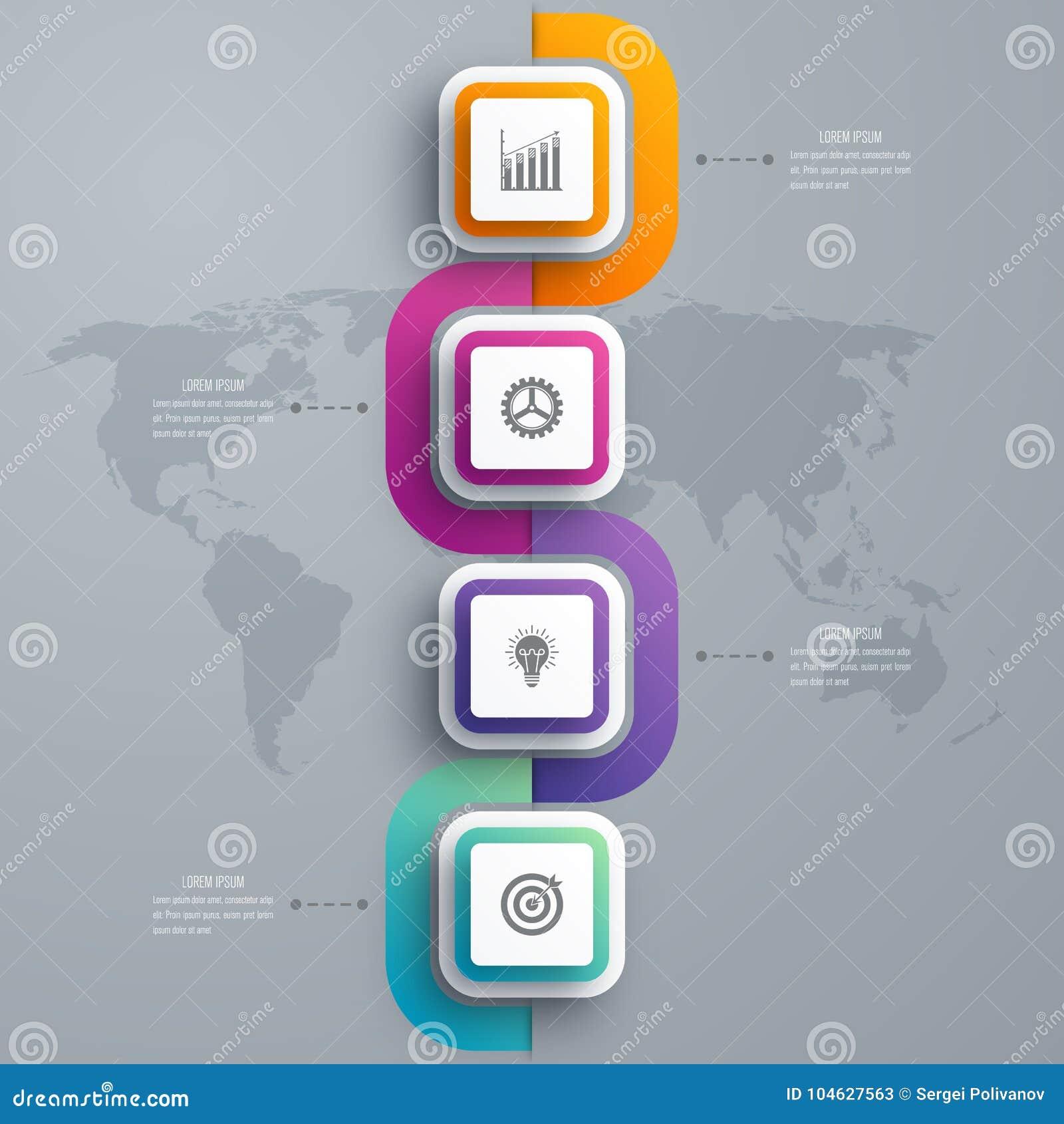 Download Bedrijfsinfographicsmalplaatje 4 Stappen Met Vierkant Vector Illustratie - Illustratie bestaande uit idee, aantal: 104627563
