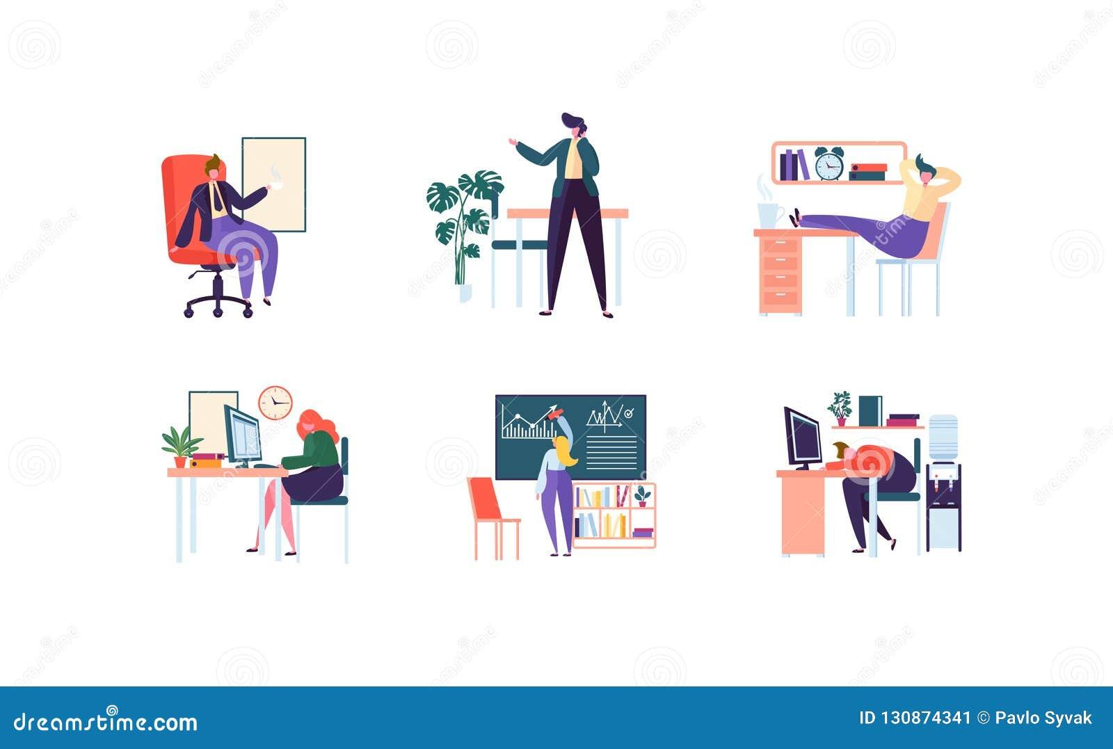 Bedrijfskarakters die in Bureau werken Collectieve Afdeling met Bedrijfsmensen Beheer, Organisatie, Werkplaats