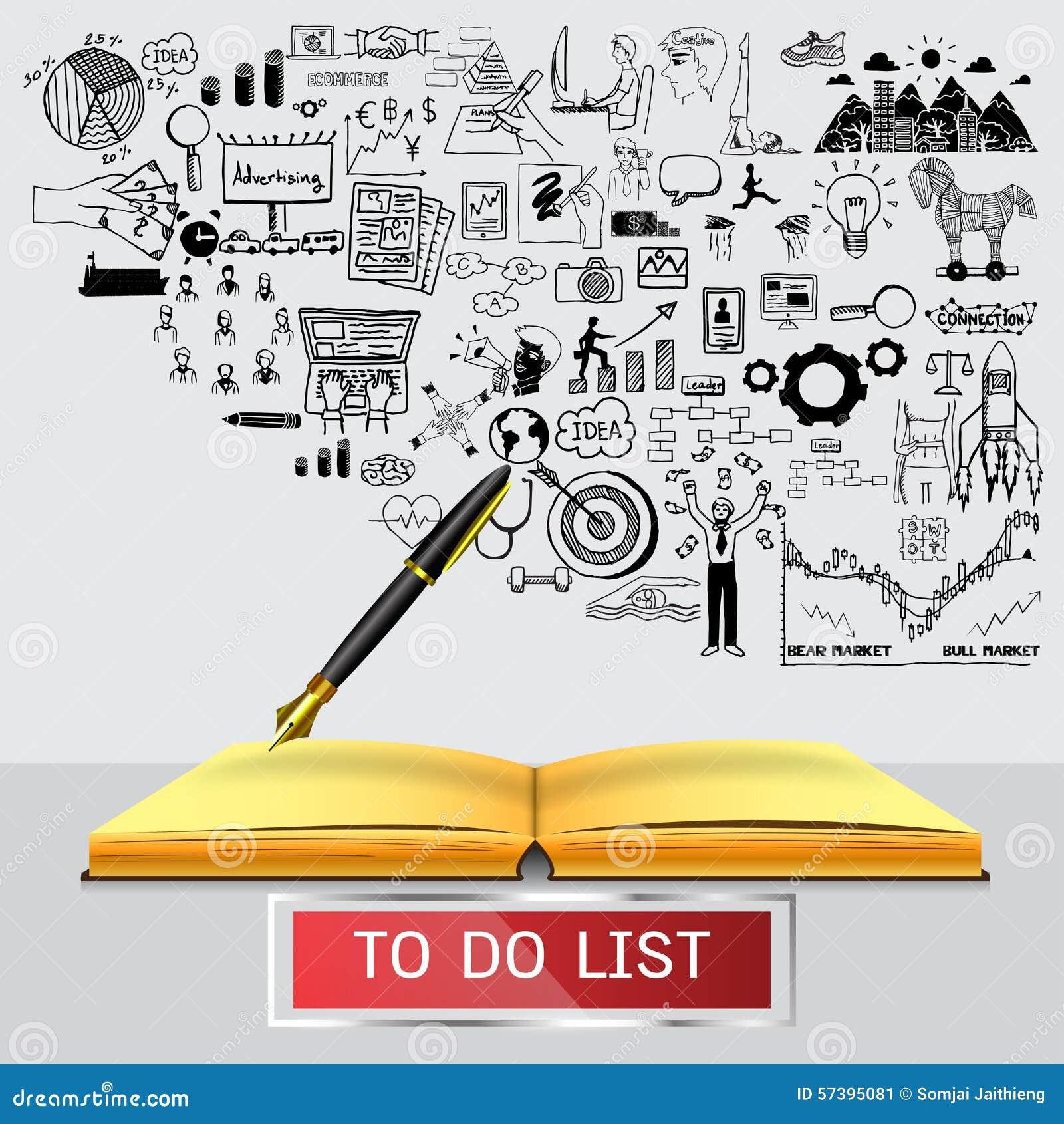 Bedrijfskrabbels met vulpen die op leeg notitieboekje met transparant kader met de wereld schrijven om LIJST TE DOEN