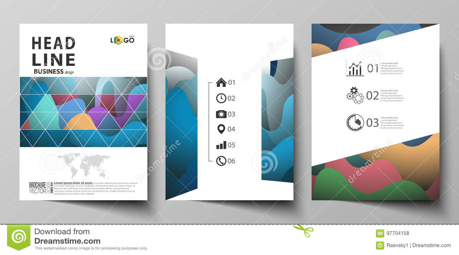 Bedrijfsmalplaatjes voor brochure, tijdschrift, vlieger, boekje of jaarverslag Het malplaatje van het dekkingsontwerp, vlakke vec