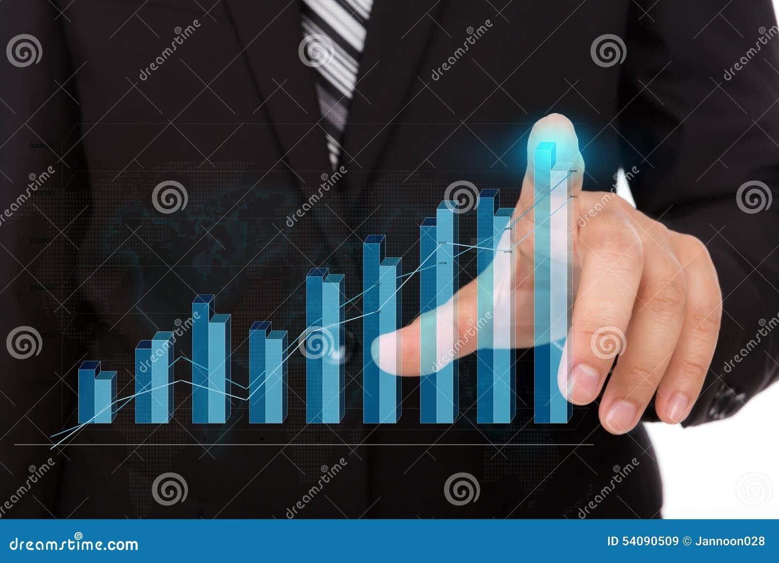 Bedrijfsmens die high-tech type van moderne grafiek drukken