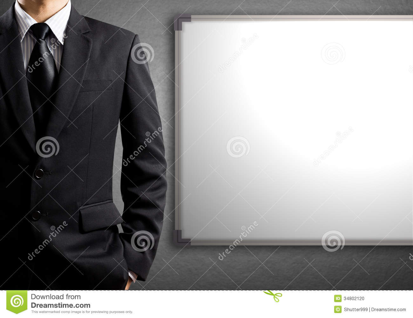 Bedrijfsmens en lege witte raad