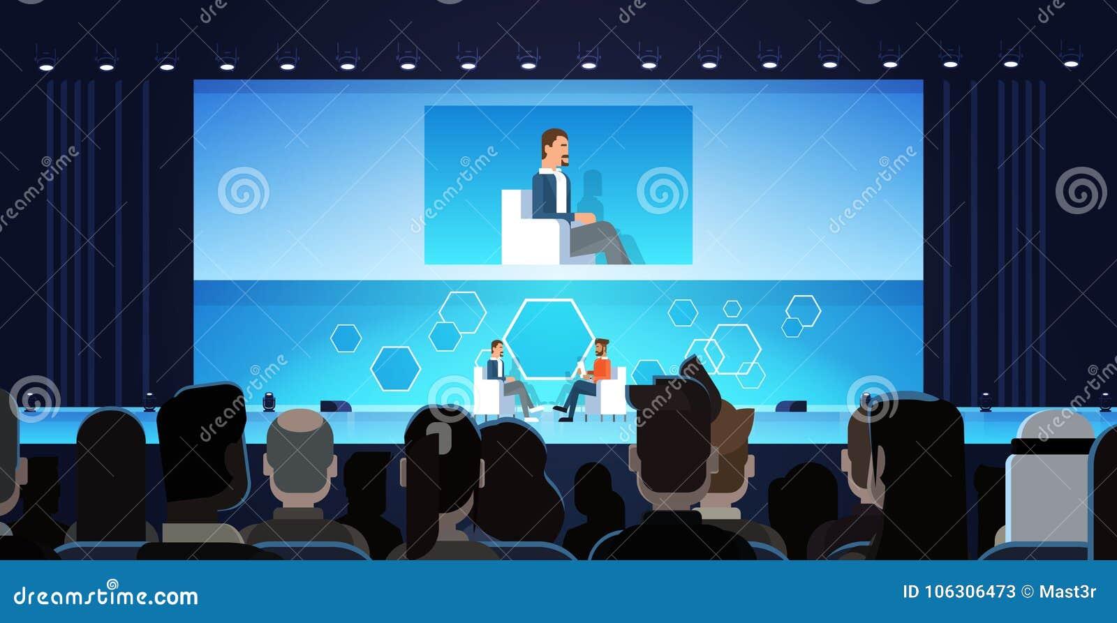 Bedrijfsmens op de Openbare Vergadering van de Gespreksconferentie voor Groot Publiek