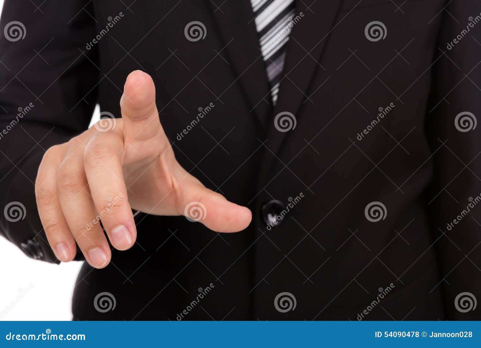 Bedrijfsmens wat betreft het denkbeeldig scherm tegen