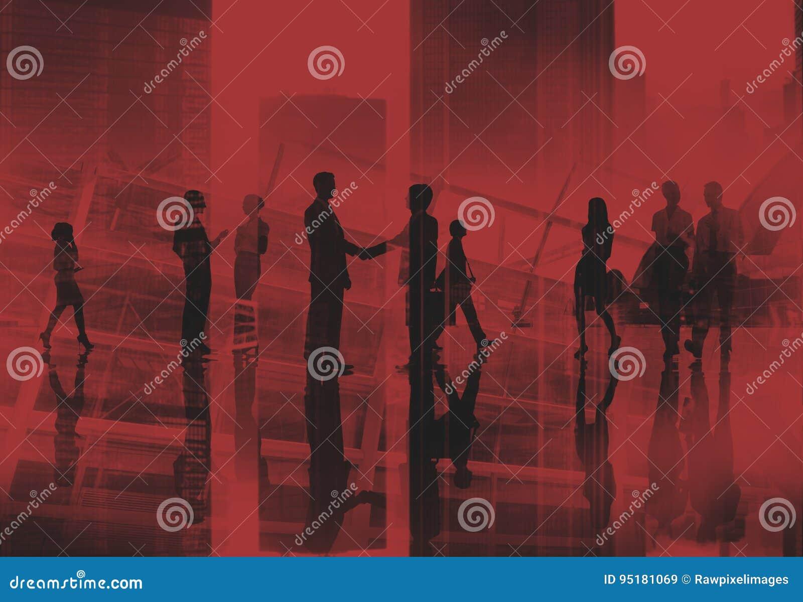 Bedrijfsmensen die de Handdrukconcept lopen van het Forenzenspitsuur