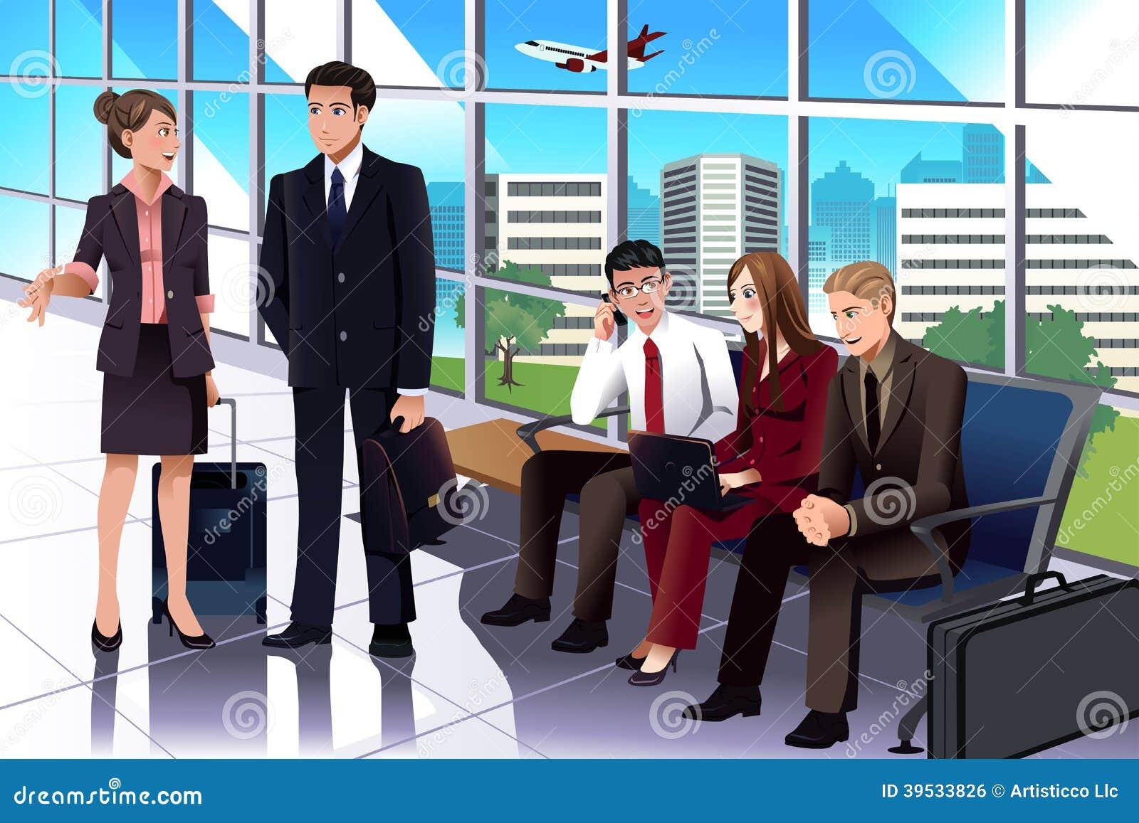 Bedrijfsmensen die in de luchthaven wachten
