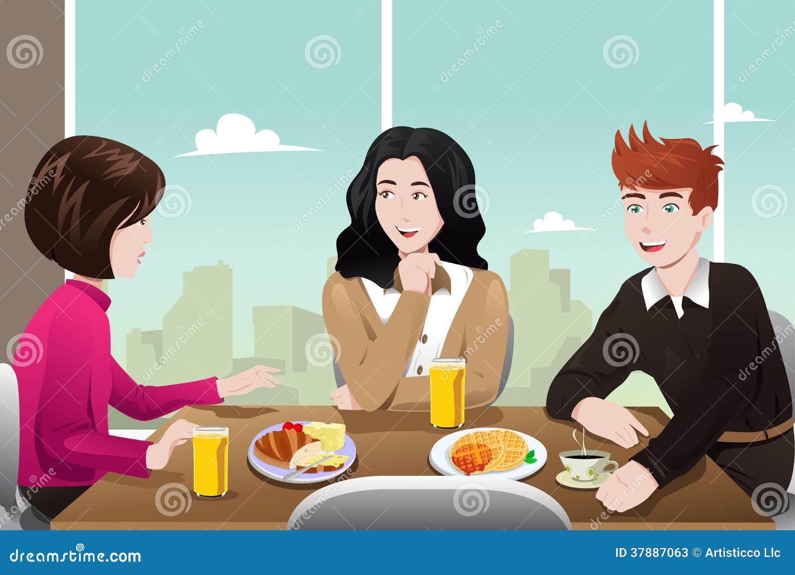 Bedrijfsmensen die samen eten