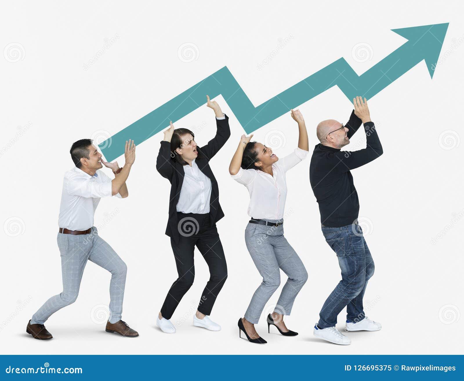 Bedrijfsmensen met een pijl die de groei tonen