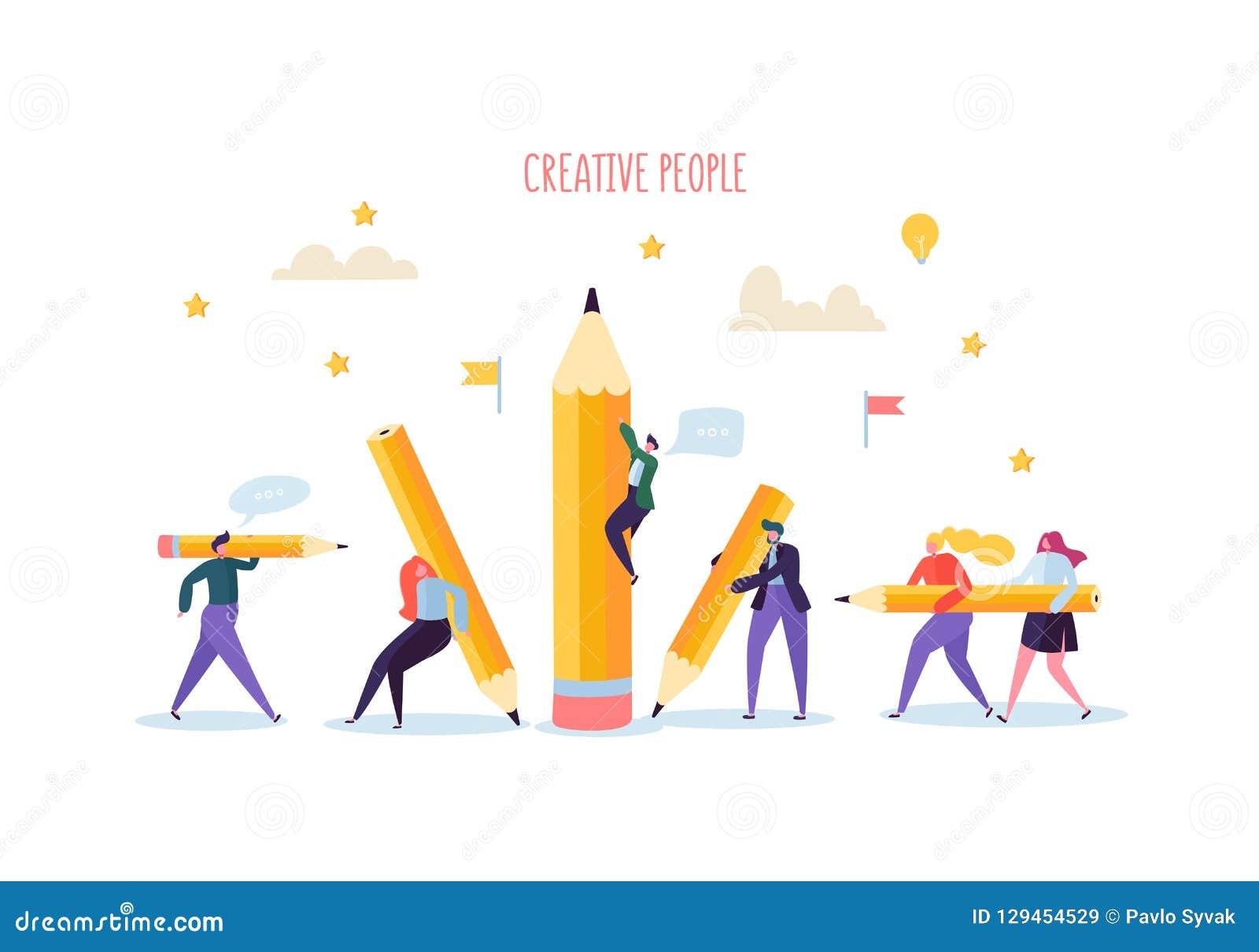 Bedrijfsmensen met Potloden De creatieve Karakters verwerken Organisatie Zakenman en Onderneemster met Potlood