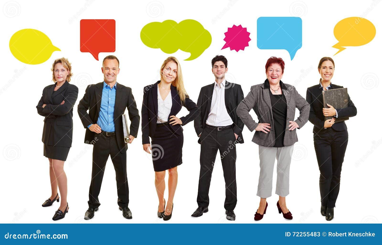 Bedrijfsmensen met Toespraakbellen