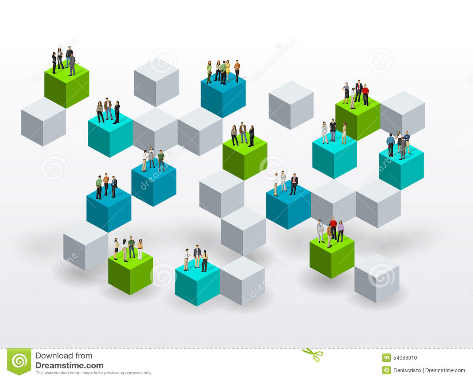 Bedrijfsmensen over blokken