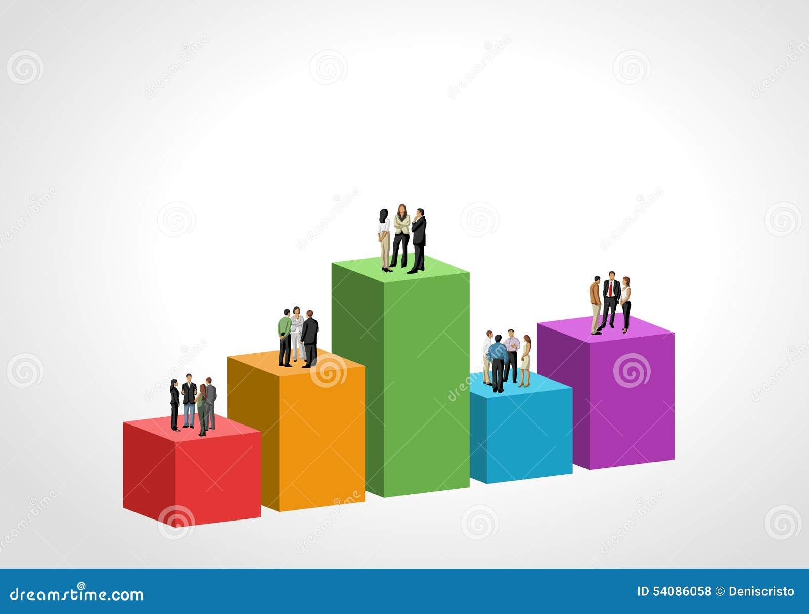 Bedrijfsmensen over grafiek