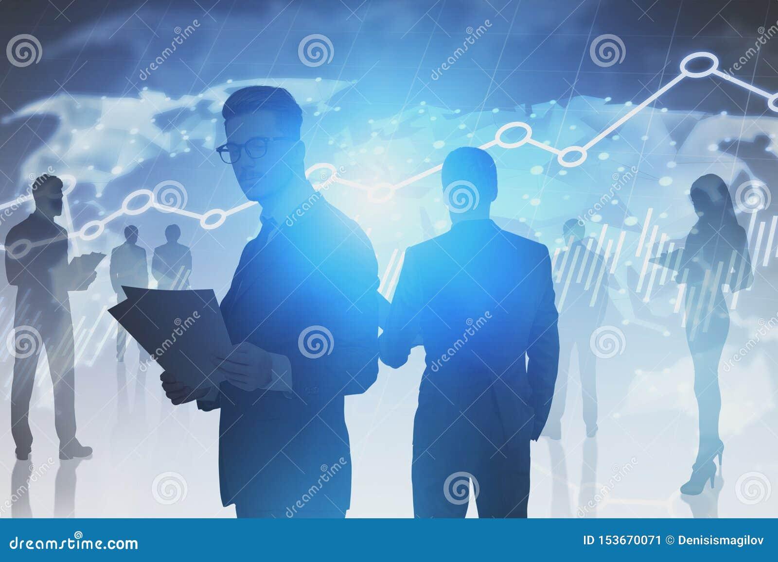 Bedrijfsmensen, wereldkaart en grafieken
