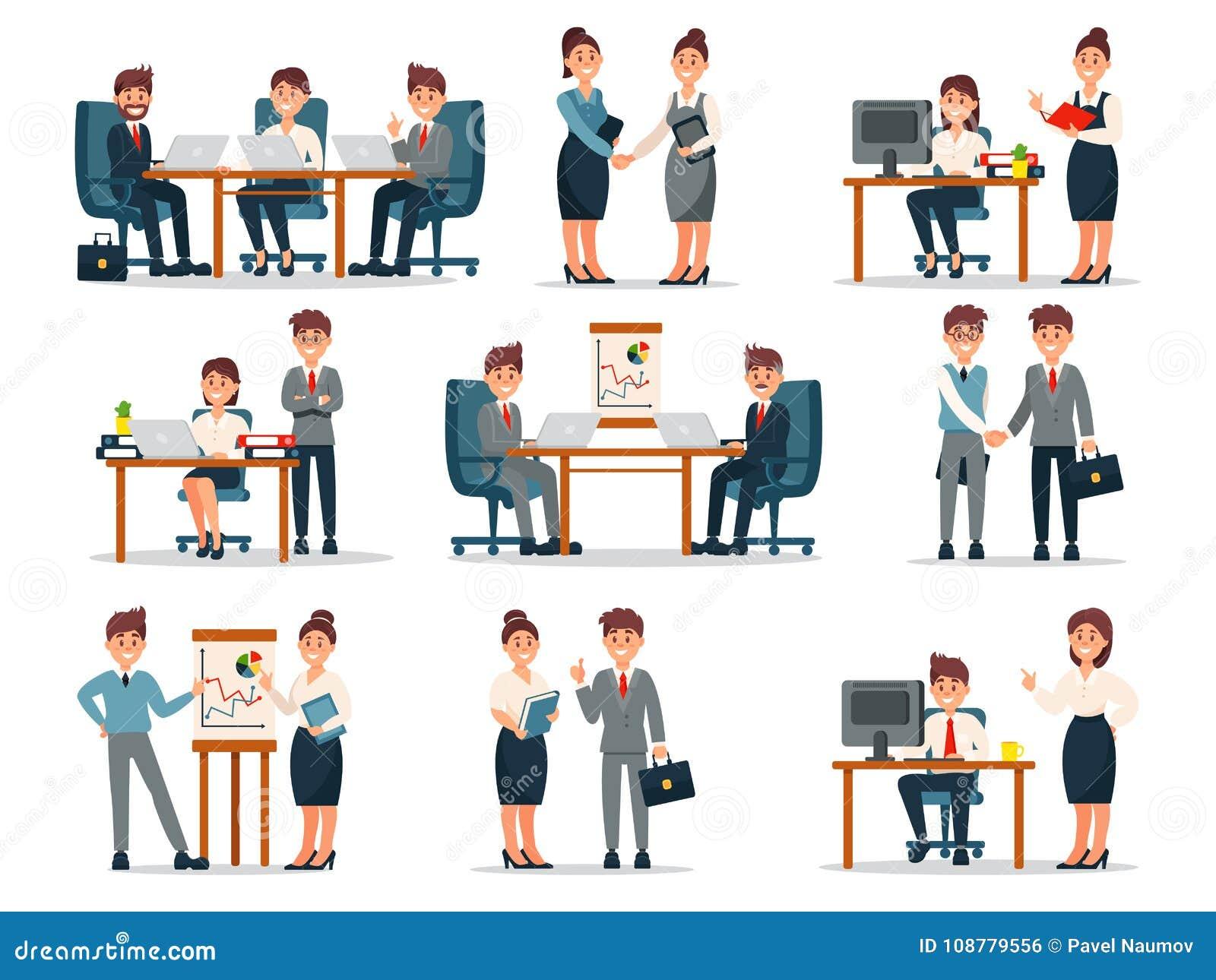 Bedrijfsmensenkarakters bij het werkreeks, mannetje en vrouwelijke werknemers bij werkplaats in de vectorillustraties van het bur