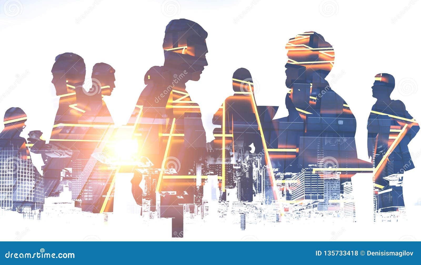 Bedrijfsmensensilhouetten, gloeiend stadsplan