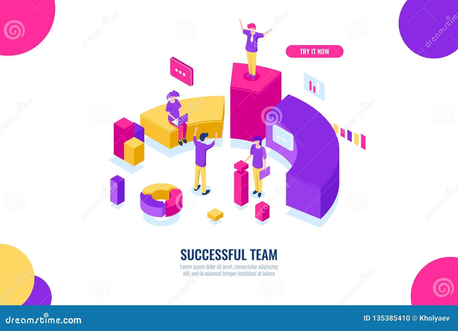 Bedrijfsonderwijs en advies, het werk van het succesteam, leider en leidings isometrisch concept, gegevensanalyse en