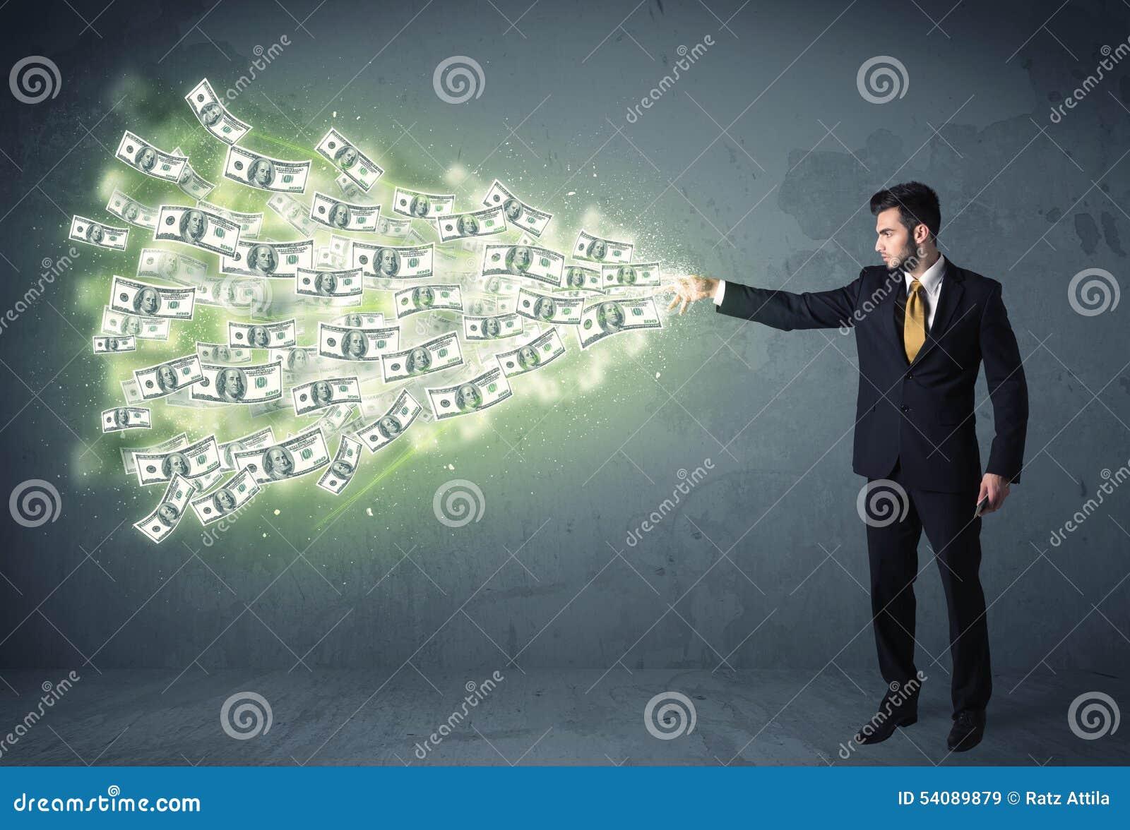 Bedrijfspersoon die heel wat concept van dollarrekeningen werpen