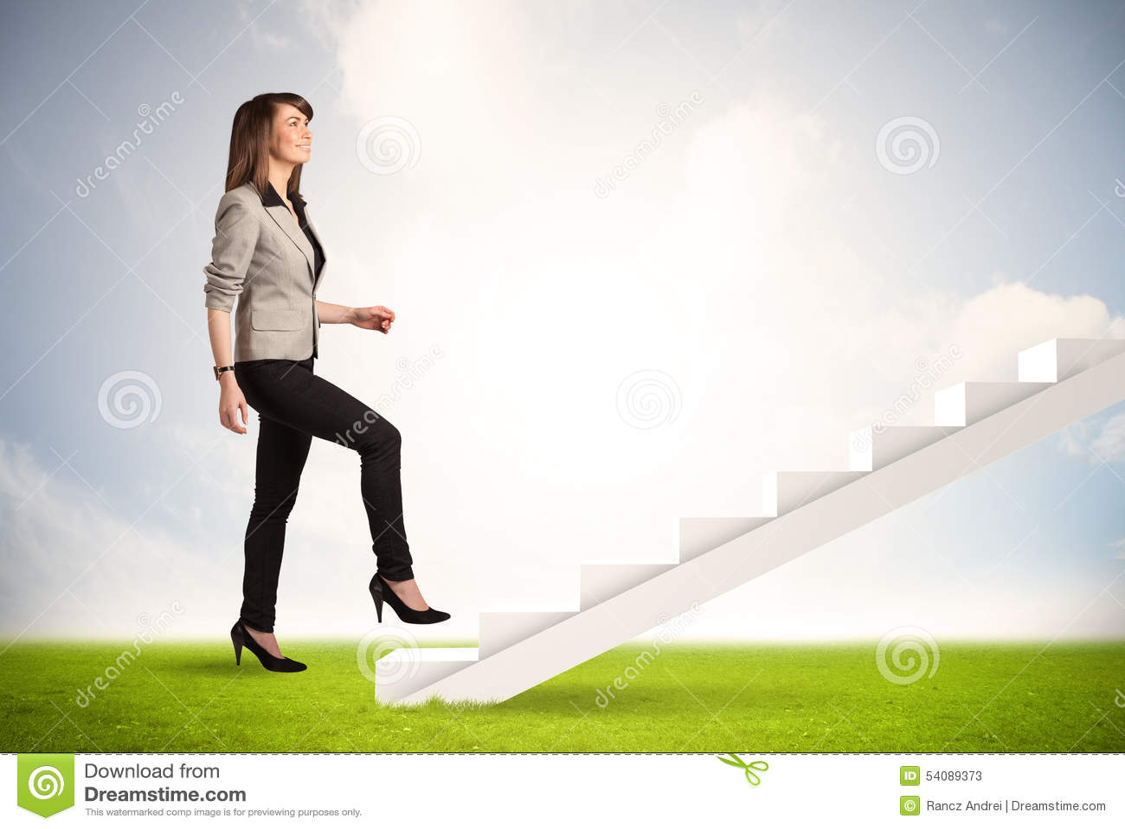 Bedrijfspersoon die omhoog op witte trap in aard beklimmen