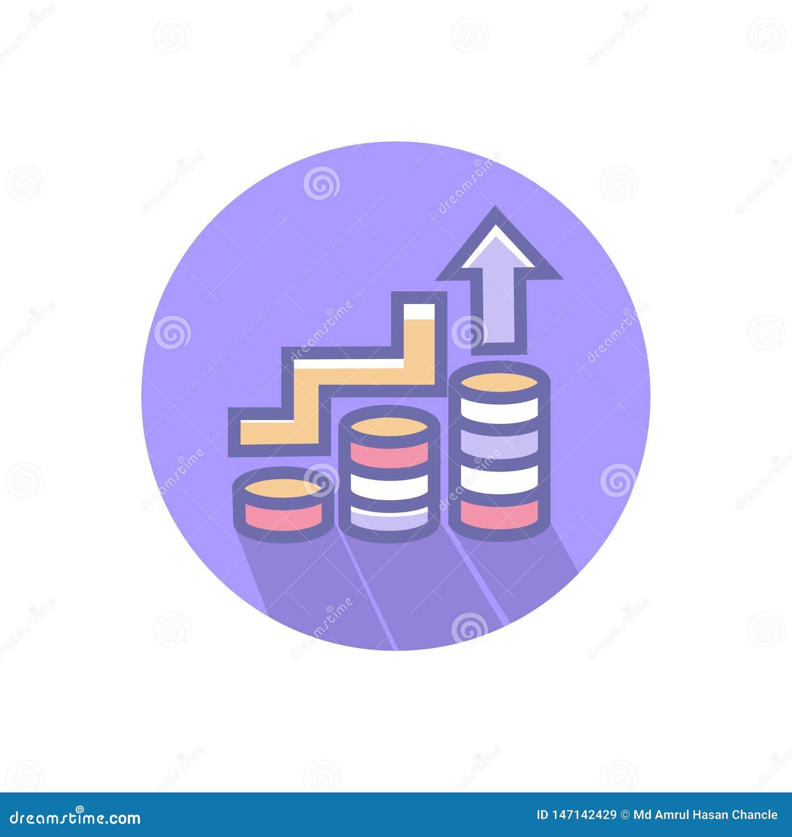 Bedrijfspictogram van het de groei of het bedrijfssucces of verhogings vector schoon bedrijfs de groeipictogram met muntstuk en o