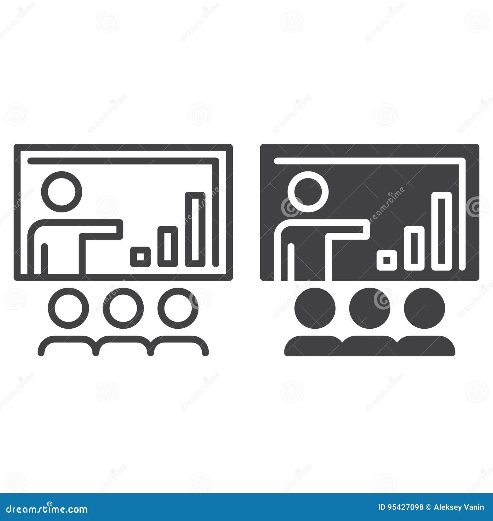 Bedrijfspresentatielijn en stevig pictogram, overzicht en gevuld vectorteken, lineair en volledig die pictogram op wit wordt geïs