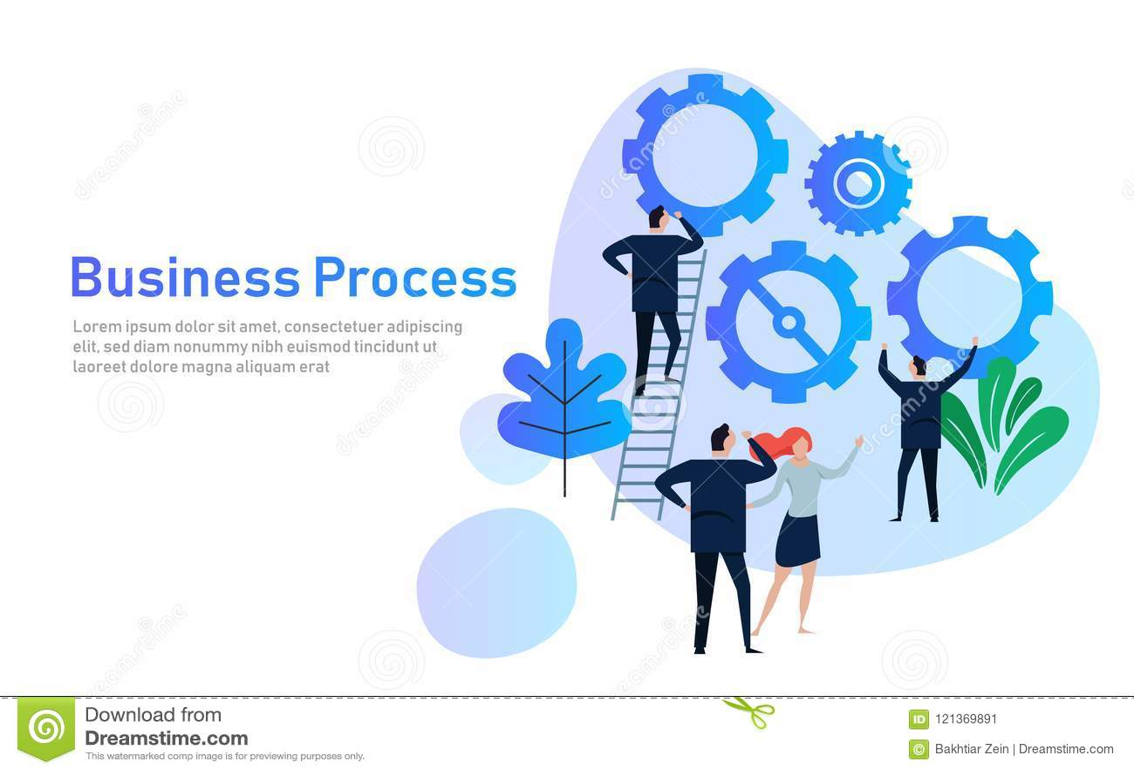 Bedrijfsproces Vlak ontwerpconcept voor de teambouw Handen met toestellen samenwerking die in bedrijf samenwerken
