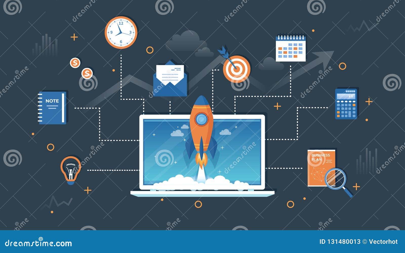 Bedrijfsprojectopstarten, financiële planning, idee, strategie, beheer, totstandbrenging en succes Raketlancering van laptop