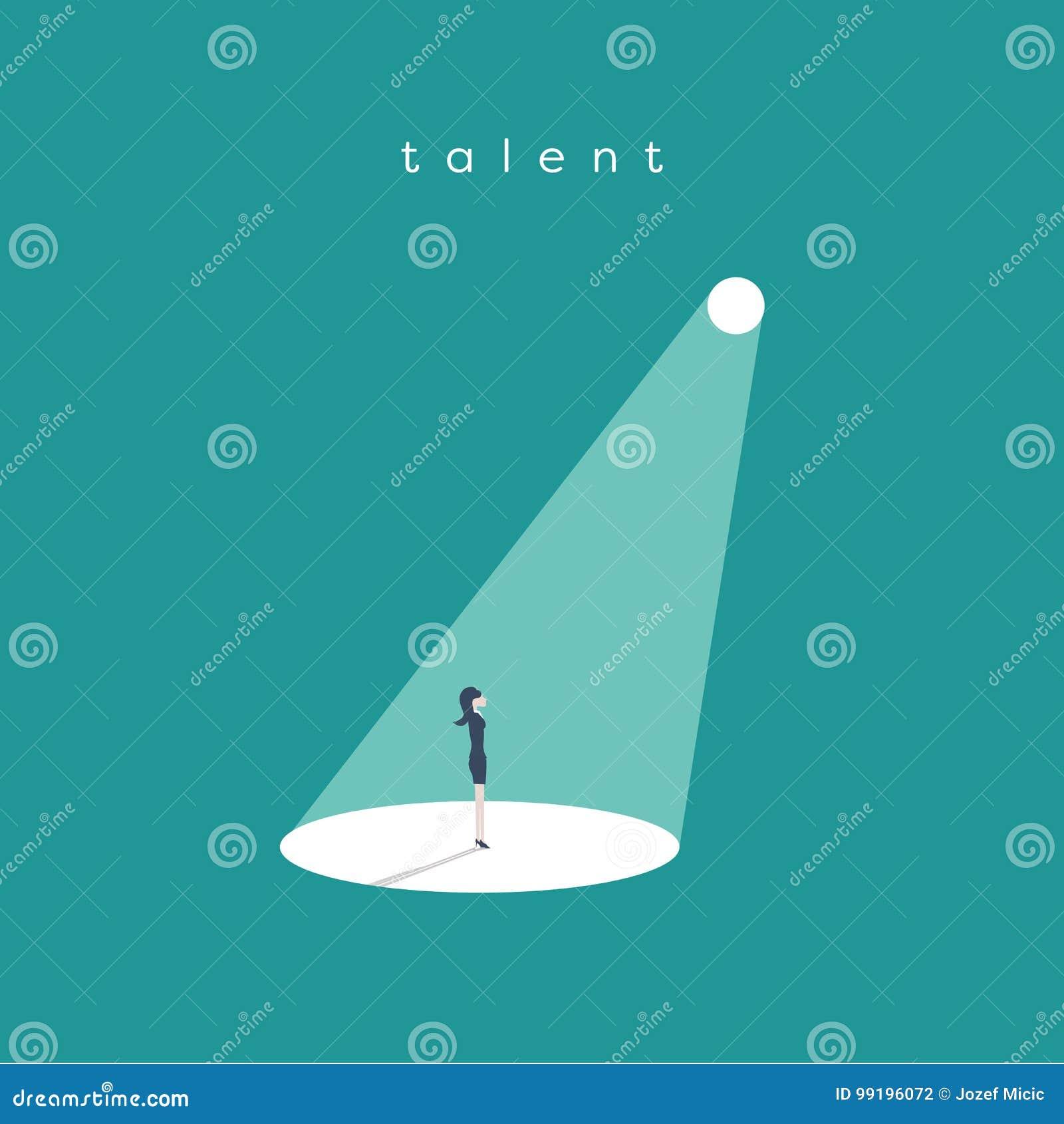Bedrijfsrekrutering of het huren vectorconcept Het zoeken van talent Onderneemster die zich in schijnwerper of zoeklicht bevinden