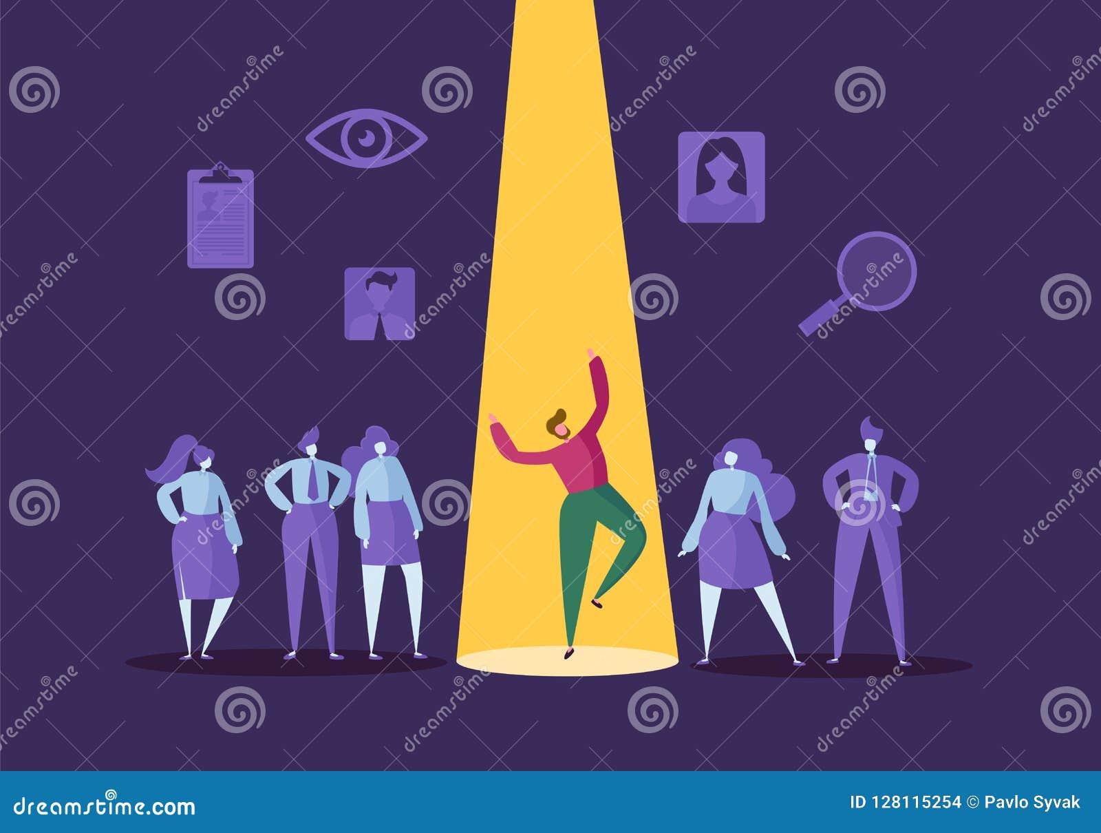 Bedrijfsrekruteringsconcept met Vlakke Karakters Werkgever die de Mens kiezen van Groep Mensen Het huren, Personeel
