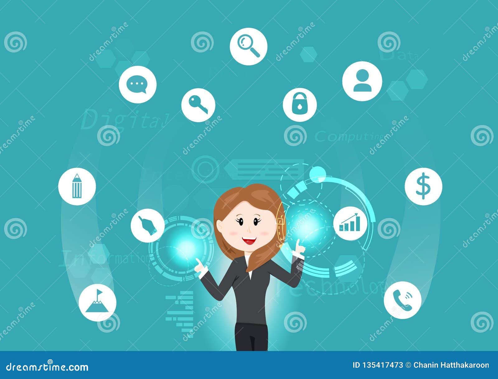 Bedrijfstechnologie, vrouw met informatie werken, gegevens, investering, teken en symbool futuristische vectorillustratie die als