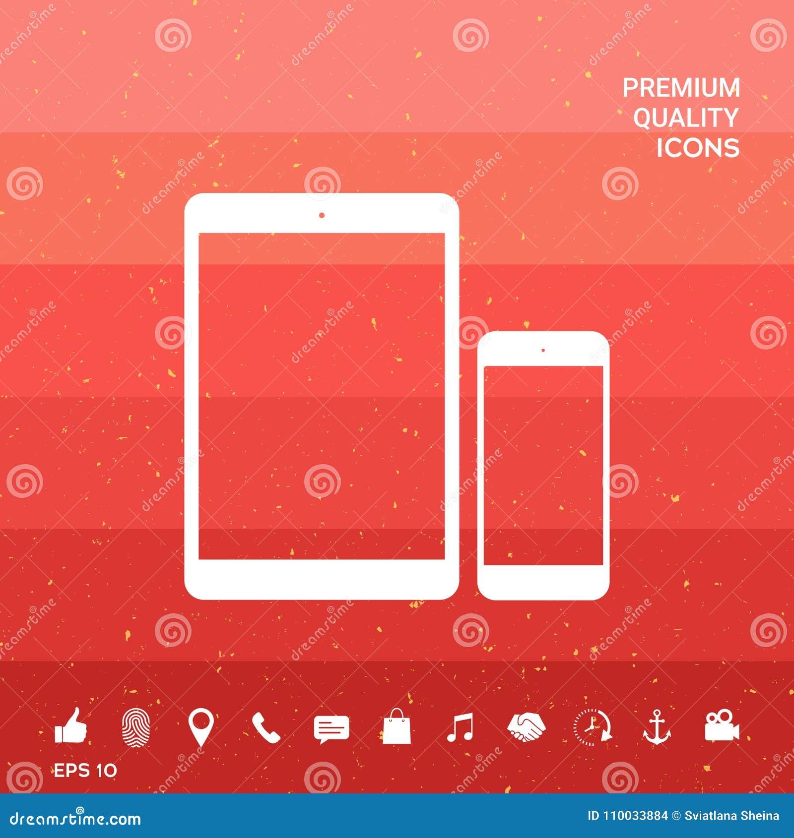 Bedrijfstelefoon en Tablet met de lege schermen