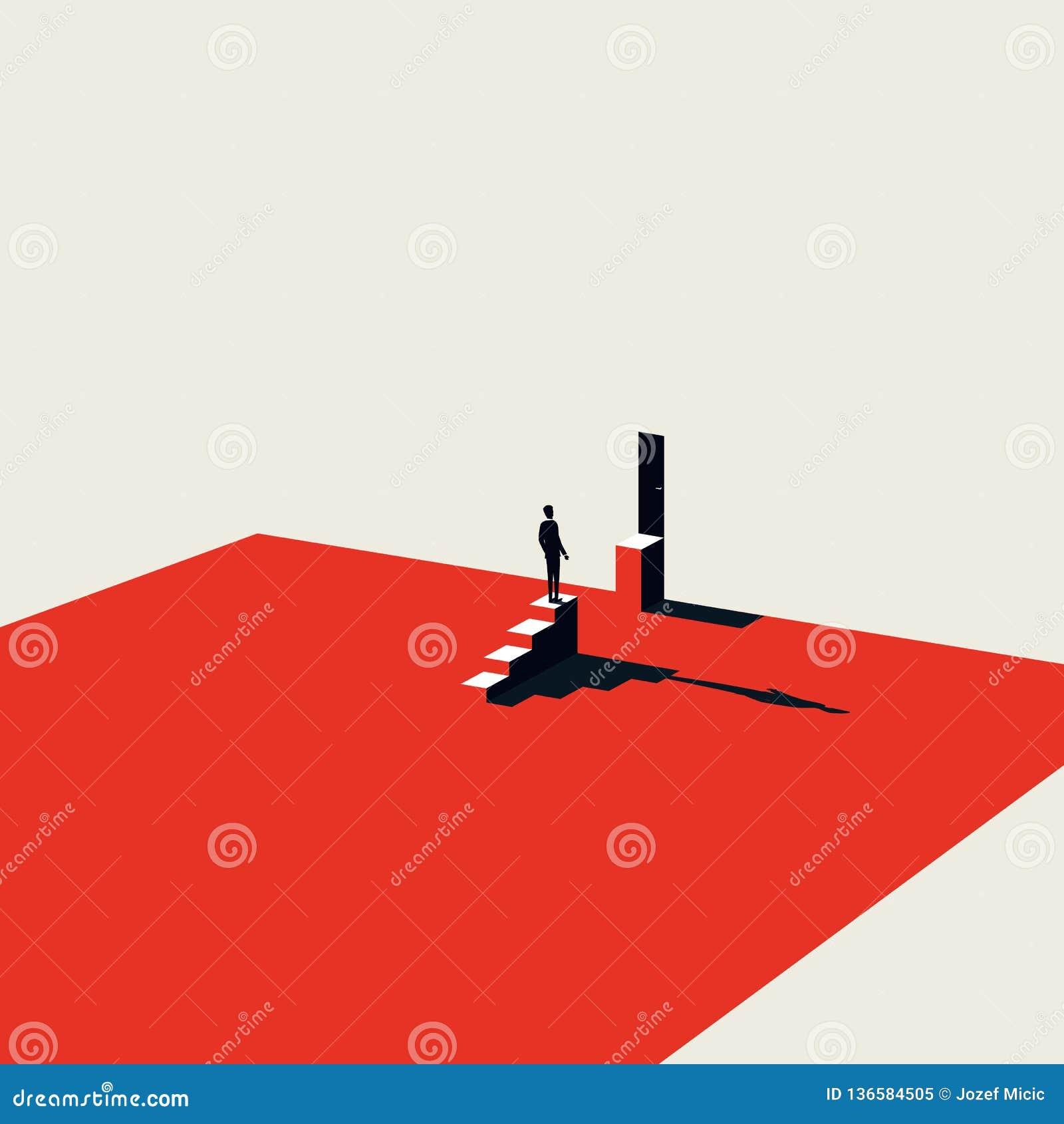 Bedrijfsuitdaging en het overwinnen van vectorconcept in minimalistische kunststijl Symbool van motivatie, ambitie en succes