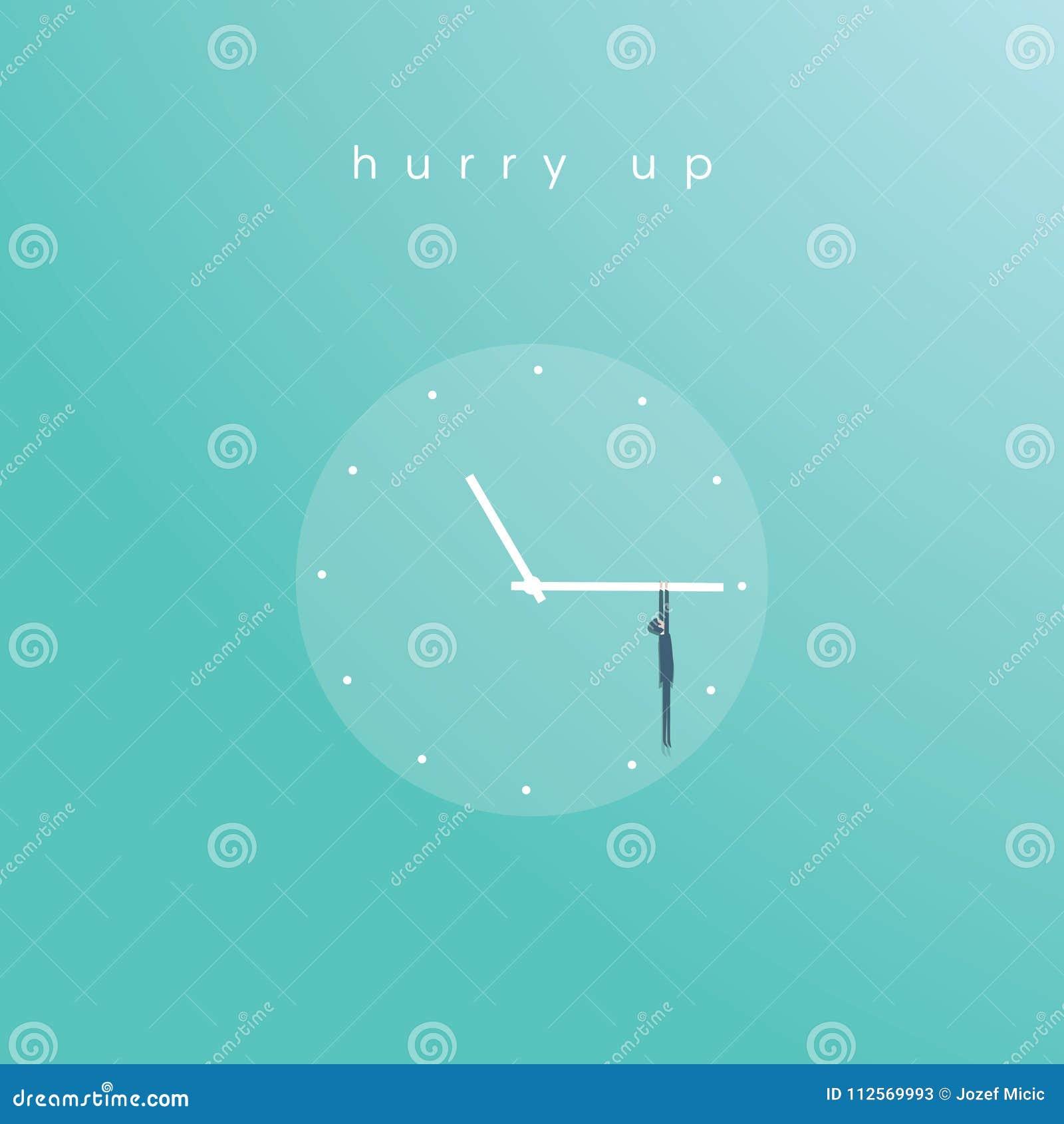Bedrijfsuiterste termijn vectorconcept met zakenman het hangen op wijzerplaat Symbool van tijdbeheer, project planning