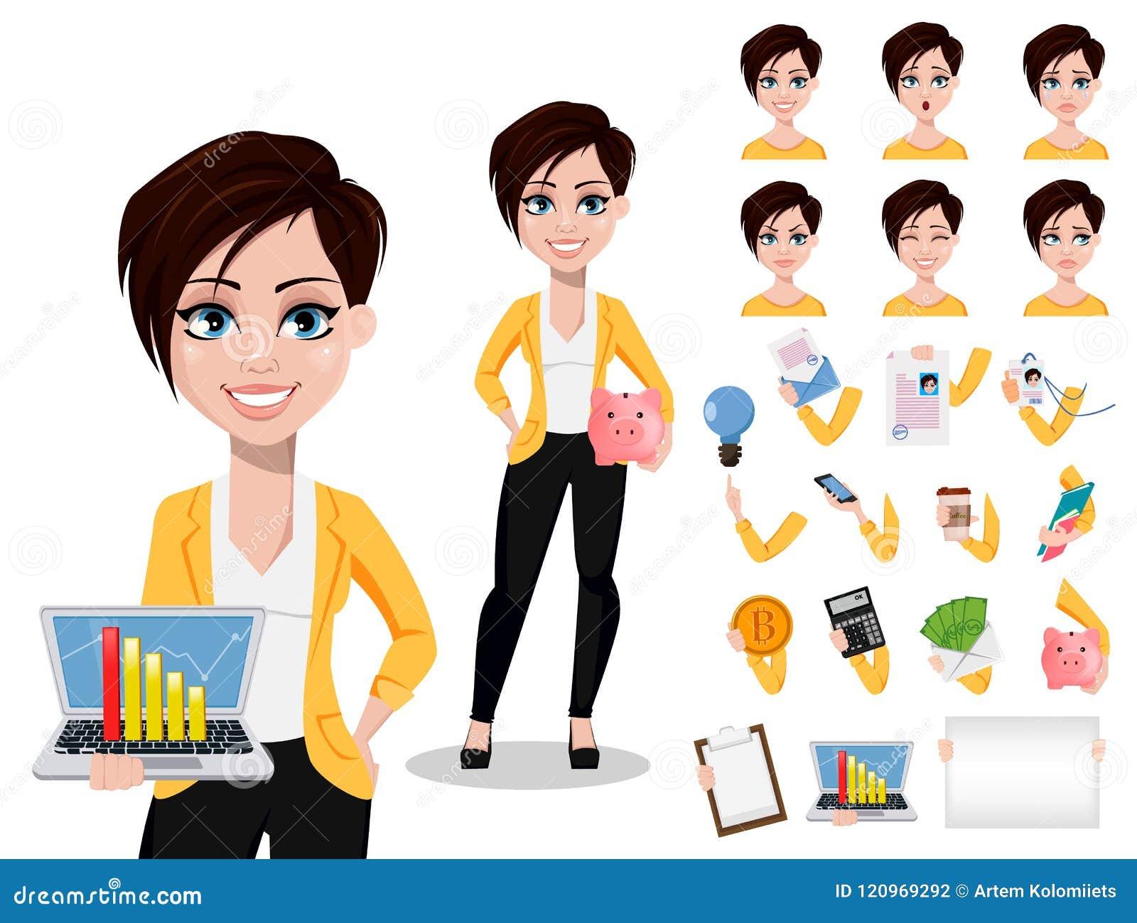 Bedrijfsvrouw, freelancer, bankier Mooie dame in vrijetijdskleding