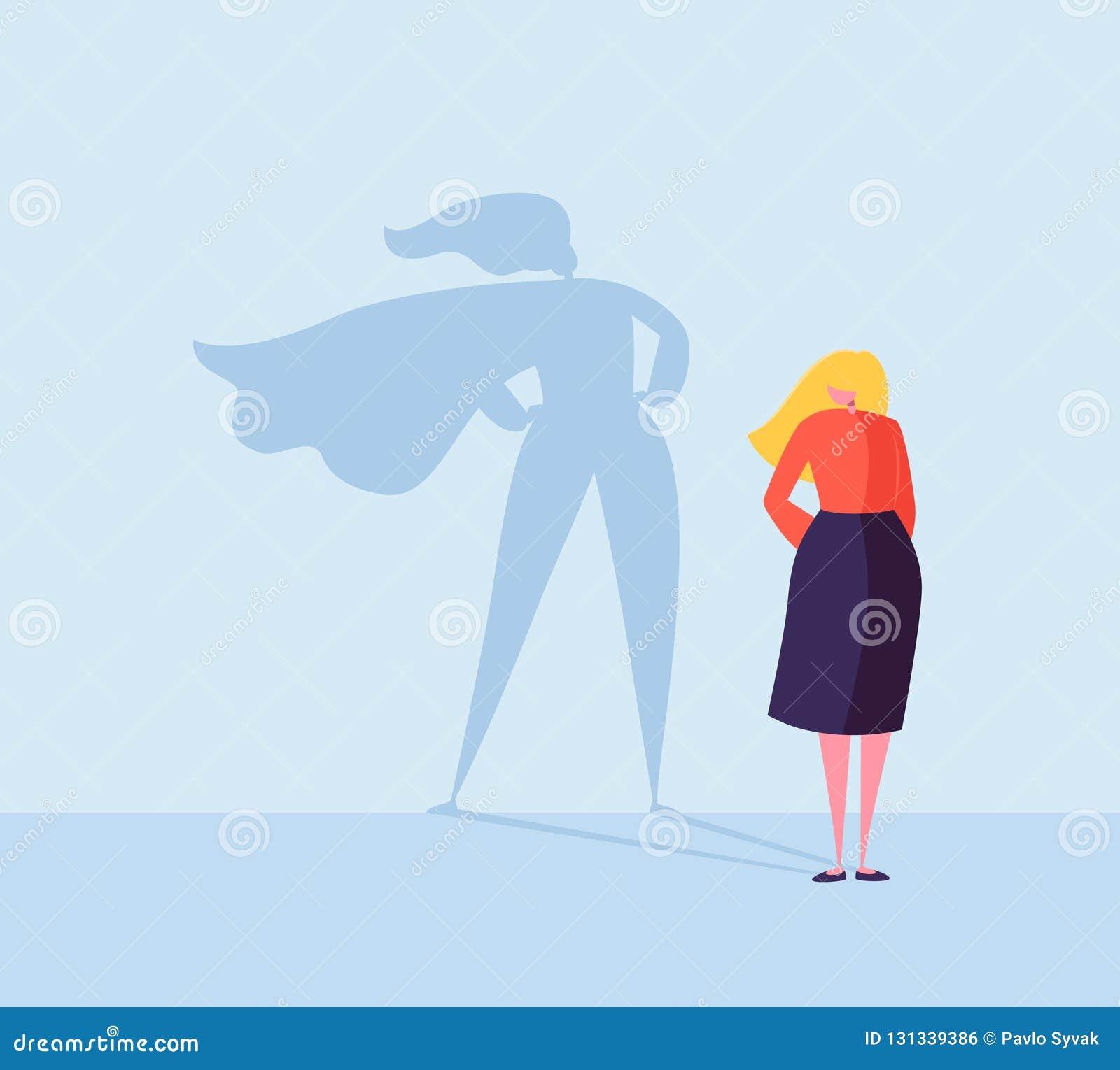 Bedrijfsvrouw met een Super Heldenschaduw Vrouwelijk Karakter met Kaapsilhouet Onderneemster Leadership Motivation