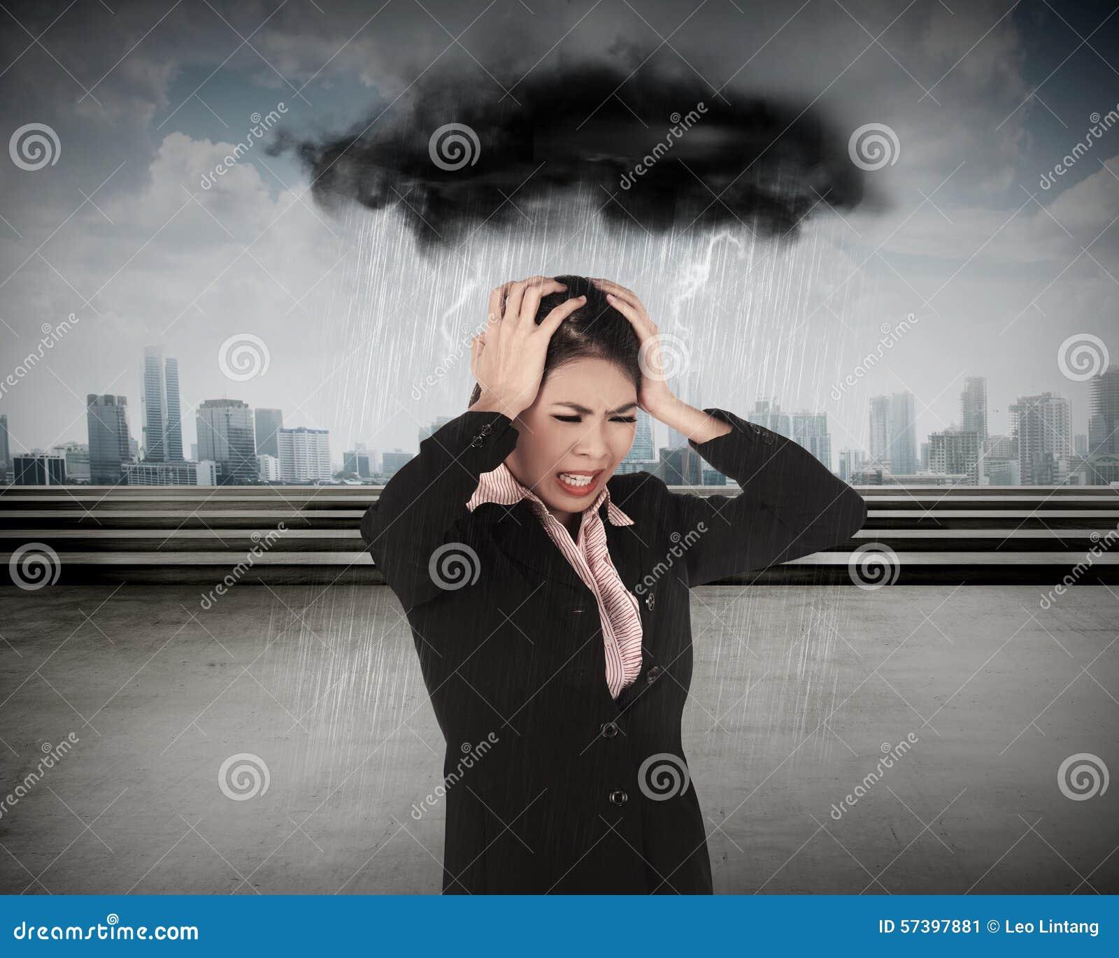 Bedrijfsvrouw onder Regen