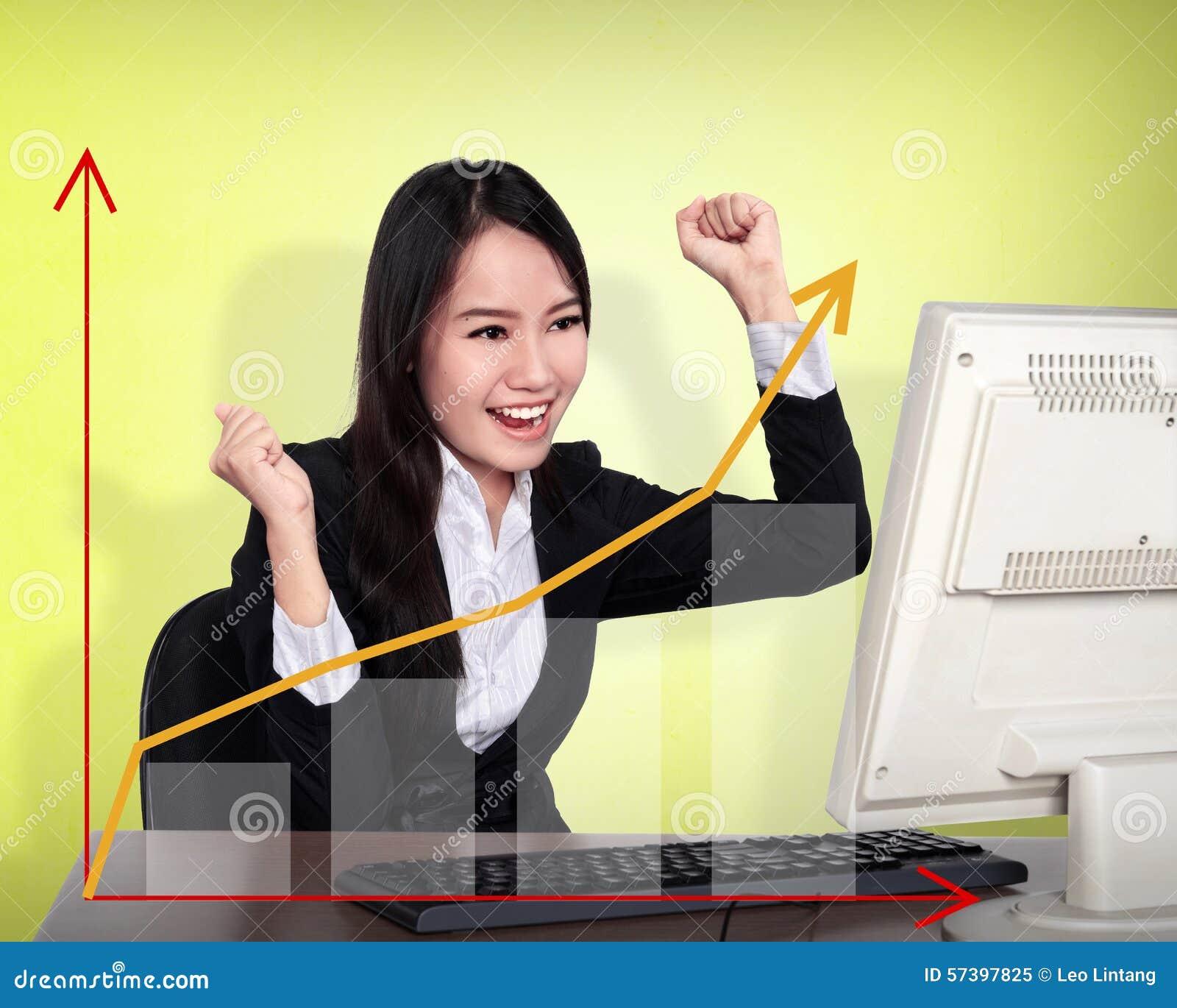 Bedrijfsvrouwenglimlach voor haar computer