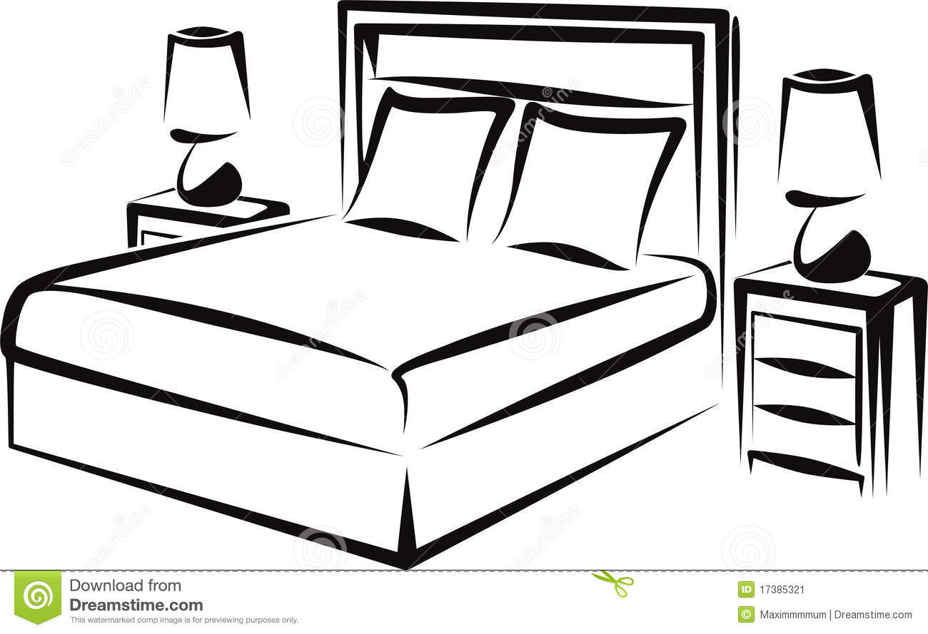 Bett strichzeichnung  Bedroom stock vector. Image of interior, headboard, comfortable ...