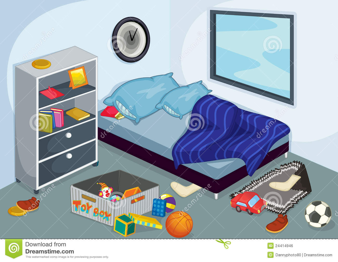 Download Bedroom Stock Vector. Illustration Of Untidy, Floor, Child    24414946