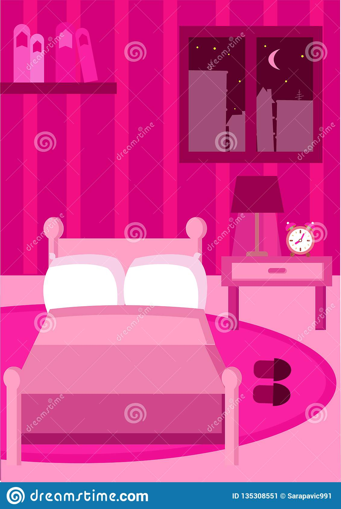 Bedroom All In Pink Color With All Pink Furniture Stock Illustration