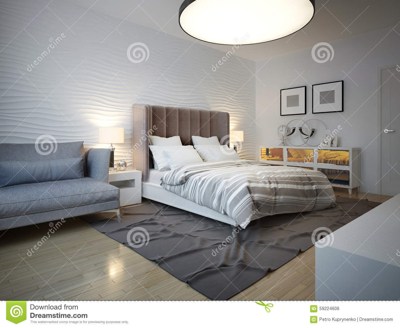 Bedroom art deco style with large ceiling lamp stock photo for Lampadario camera da letto ikea