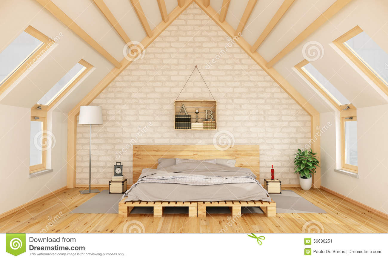 Bedroom in the attic stock illustration image 56680251 for Wooden attic box bed