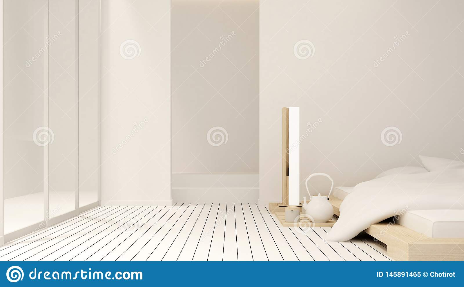 Bedroom and balcony  in apartment or hotel - Interior design - 3D Rendering royalty free stock photo